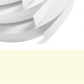 Ivory / Cream High Gloss Melamine Edging 22mm x 0.4mm x 50m Preglued
