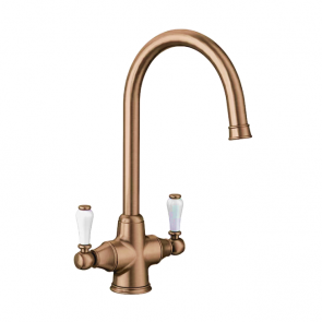 Blanco Vicus Twin Lever Tap Brushed Copper